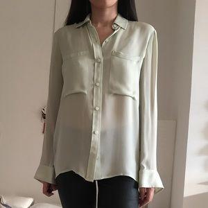 Club Monaco light green silk blouse like new